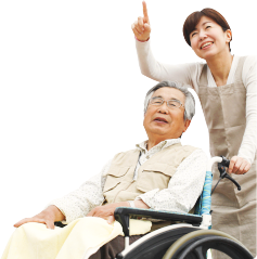 Caregiver pointing upwards with an elderly man