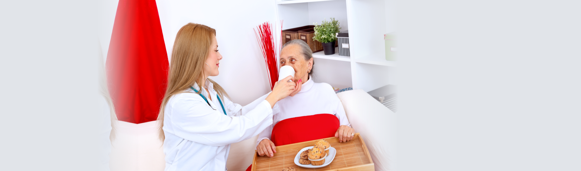 caregiver feeding an elderly woman in bed